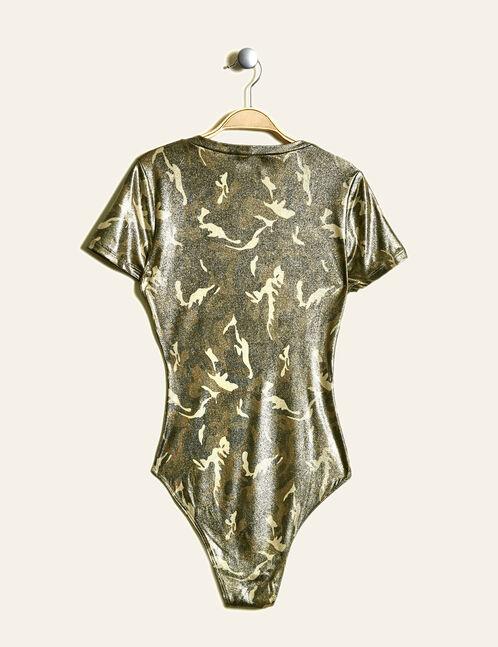 Khaki and gold camouflage print bodysuit