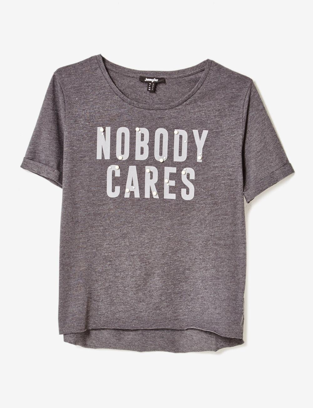 tee shirt message gris anthracite chin femme jennyfer. Black Bedroom Furniture Sets. Home Design Ideas