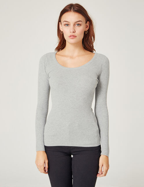 Grey marl ribbed jumper