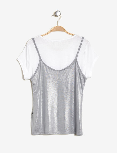 White top with a silver tank top overlay