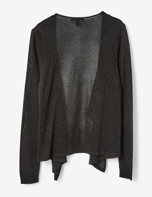 Black open cardigan with lurex detail