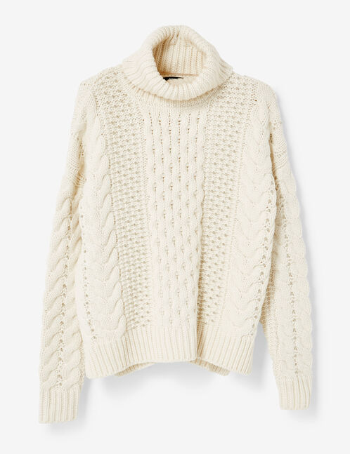 Cream braided knit jumper with beading detail