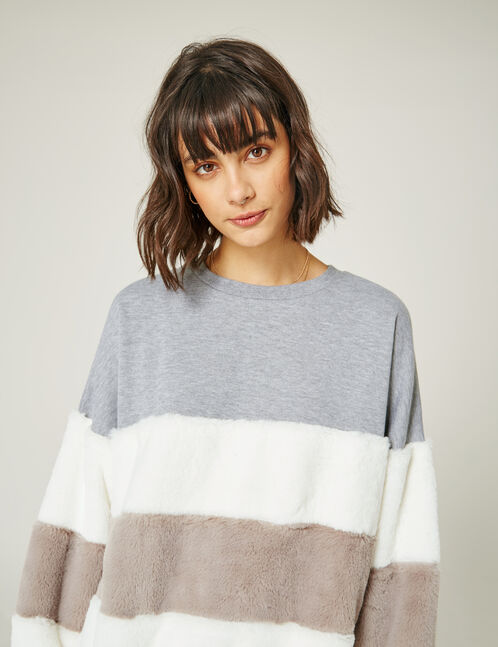 sweat empiècements doudou gris chiné