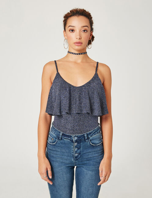 Blue and silver bodysuit with frill and lurex details