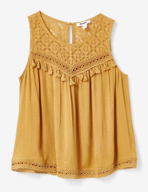 blouse bi-matière ocre
