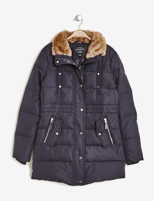 Navy blue long padded jacket