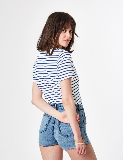 White and navy blue printed T-shirt