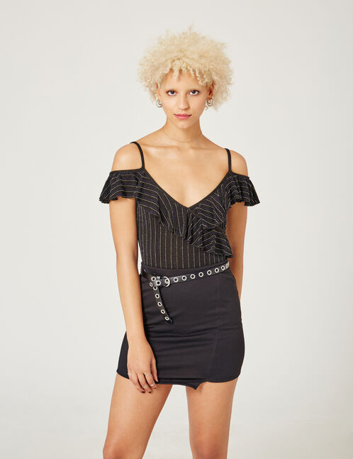 Black, silver and blue bodysuit with lurex and frill details