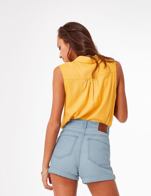 short en jean avec revers bleach