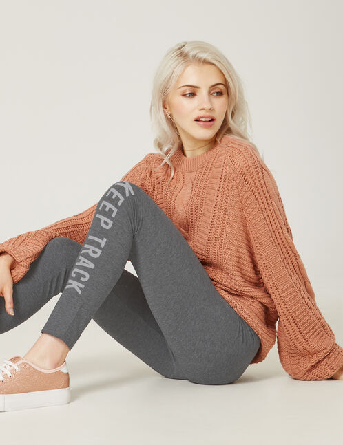 legging keep track gris anthracite chiné