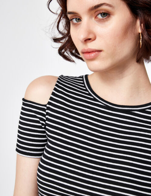 Black and white striped cold shoulder T-shirt