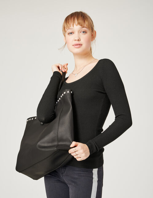 sac cabas clouté noir