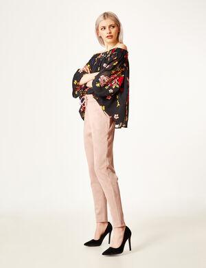 pantalon en suédine rose clair