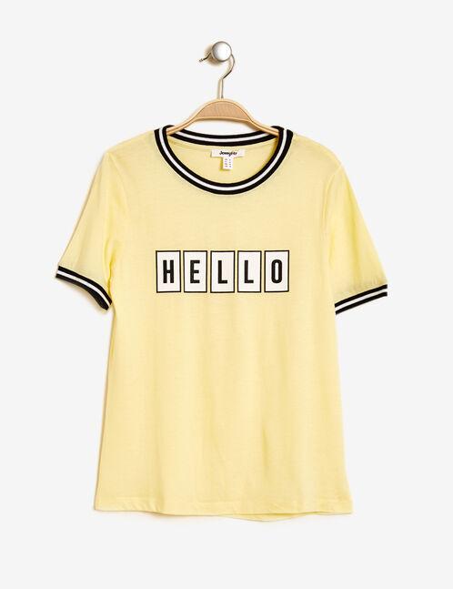 "Pastel yellow ""hello"" print T-shirt"