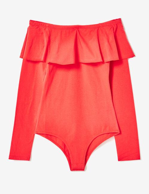 Red off-the-shoulder bodysuit
