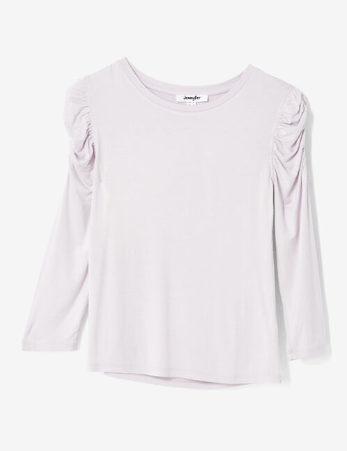 Mauve ruched sleeve top