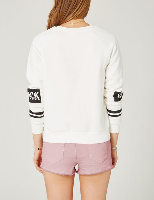 "Cream ""keep track"" print sweatshirt"