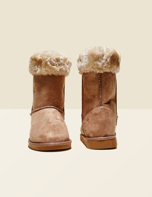 Beige fur-lined fold-down boots