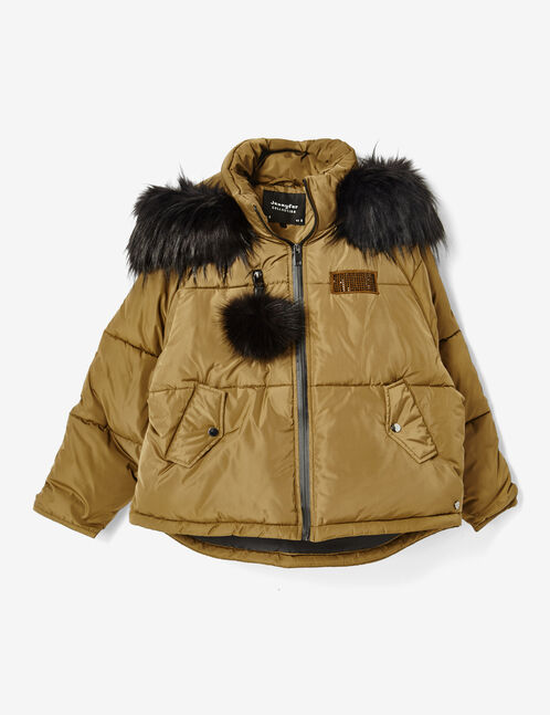 Short khaki oversized padded jacket