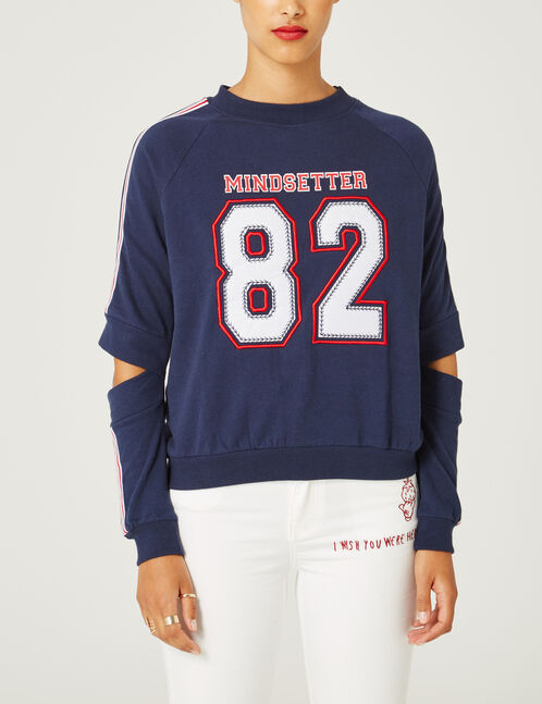 Navy blue sweatshirt with cut-out detail