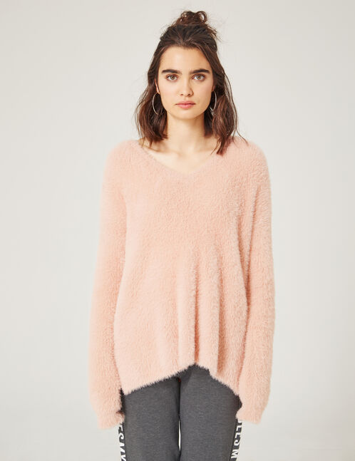 Long light pink mohair-effect jumper