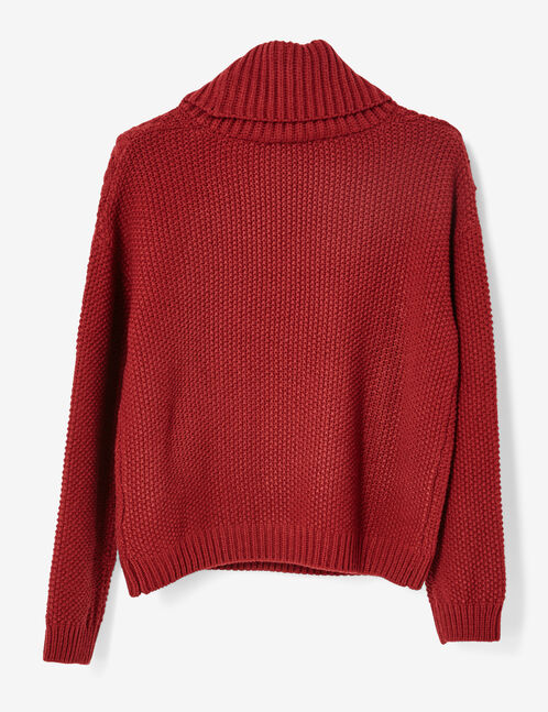Burgundy polo neck jumper