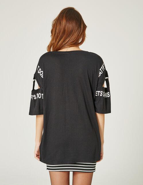 tee-shirt à mesage noir