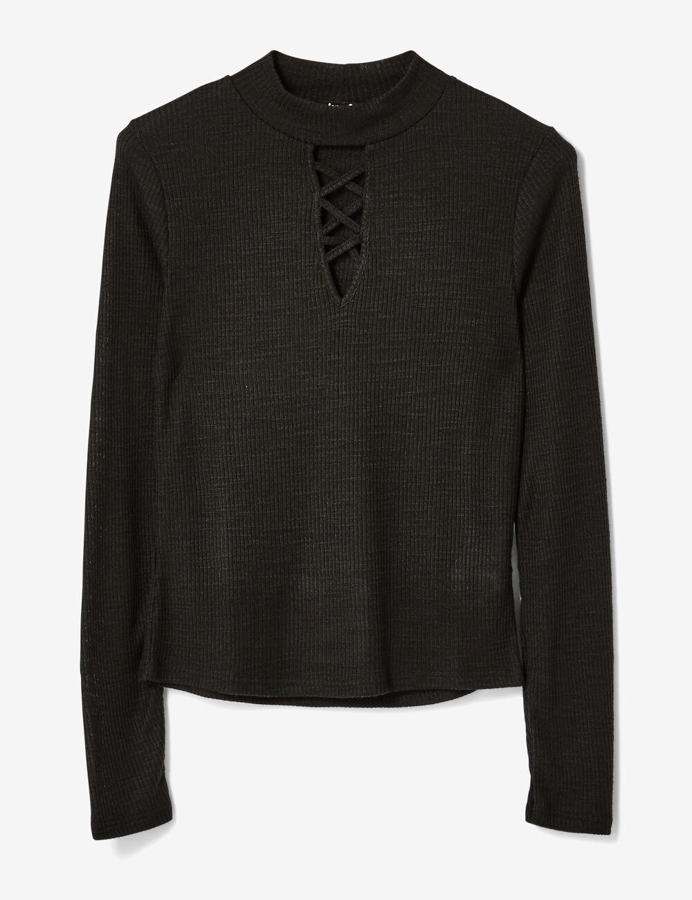 tee shirt avec ouverture noir femme jennyfer. Black Bedroom Furniture Sets. Home Design Ideas