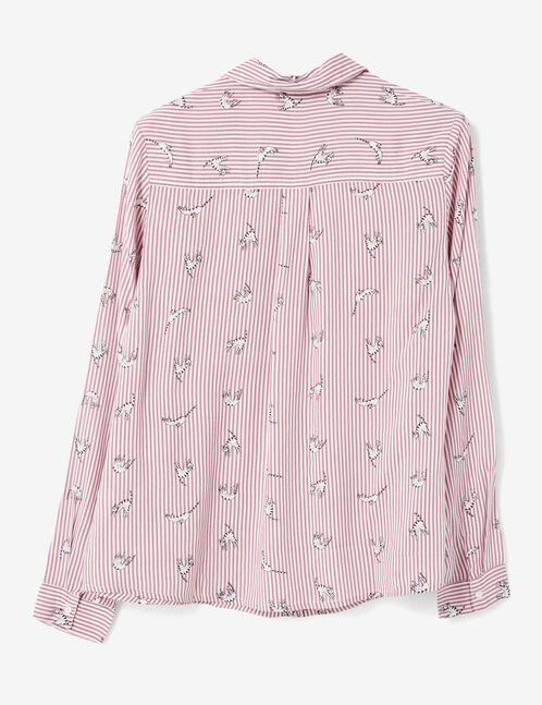White and burgundy striped shirt
