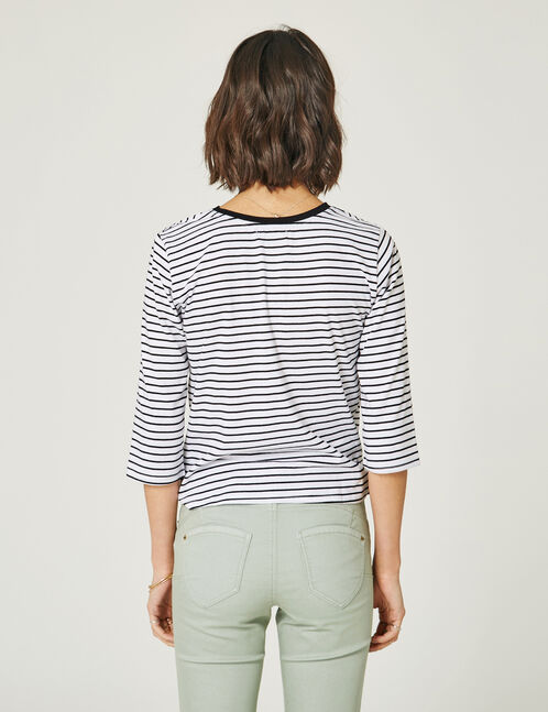 Black and white striped knot-effect top