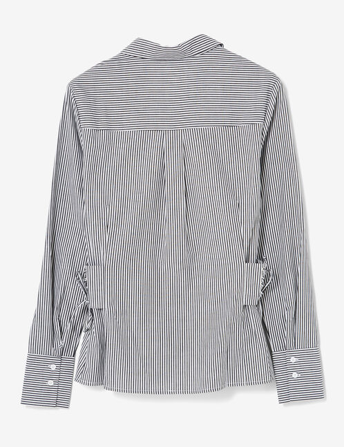 Black and cream striped shirt with side lacing detail