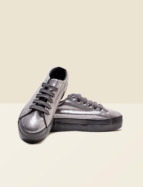 baskets pailletées argentées