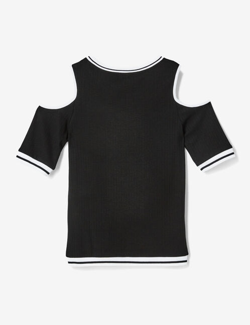 Black cold shoulder T-shirt