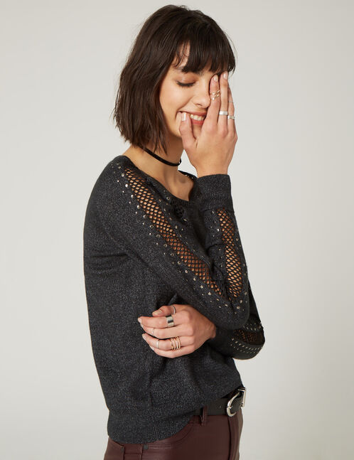 Charcoal grey jumper with mesh and stud details