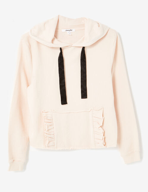 Light pink hoodie with frilled pocket