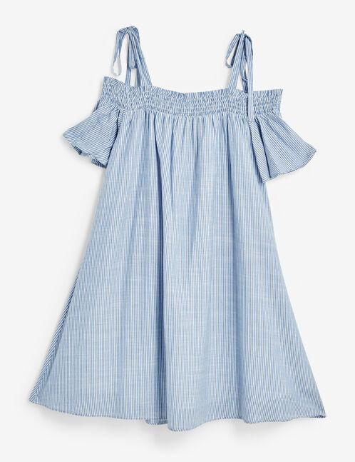 robe rayée épaules dénudées bleu clair et blanc