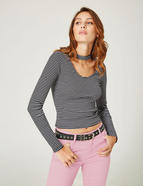 Black and cream striped top with cut-out detail