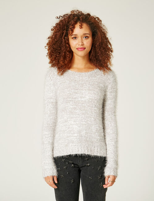Grey marl and silver mohair-effect jumper