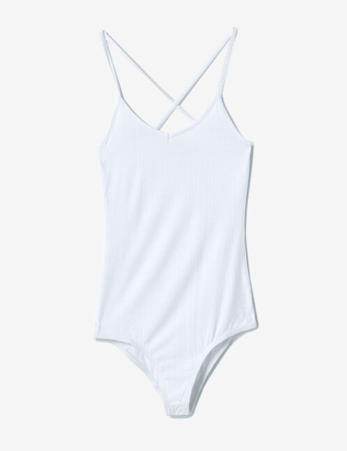 White bodysuit with crossover strap back detail