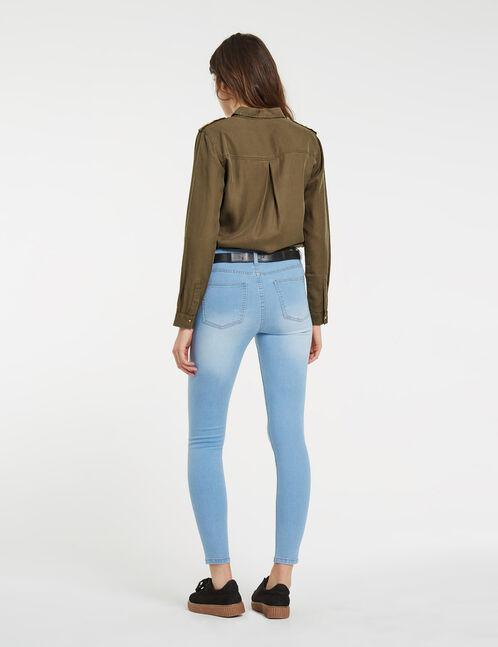 jean super skinny taille haute bleu clair