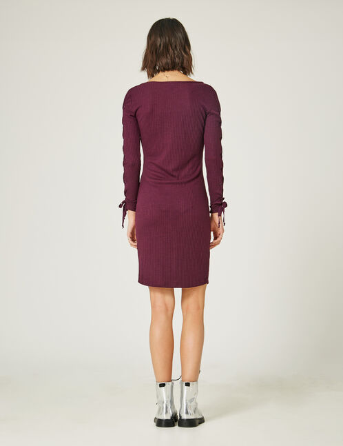 Purple dress with laced sleeve detail