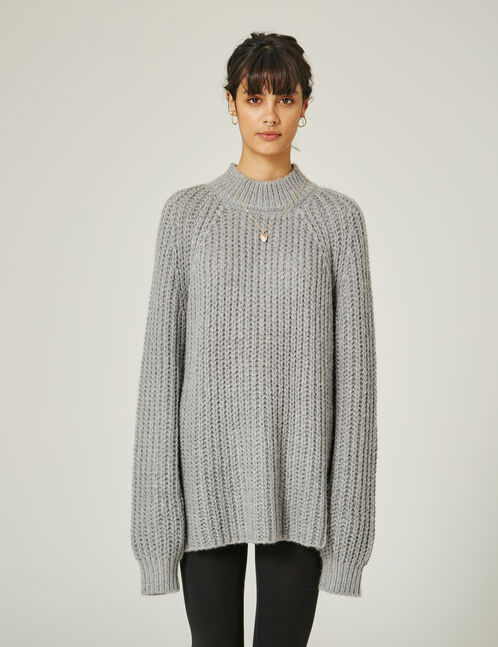 Grey marl jumper with tie detail