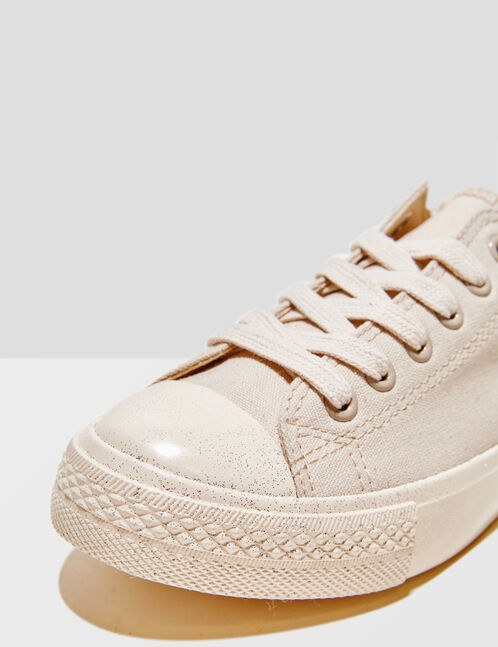 Beige sparkly soled trainers