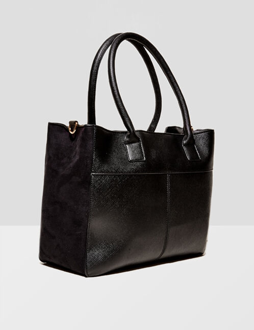 Black mixed fabric handbag
