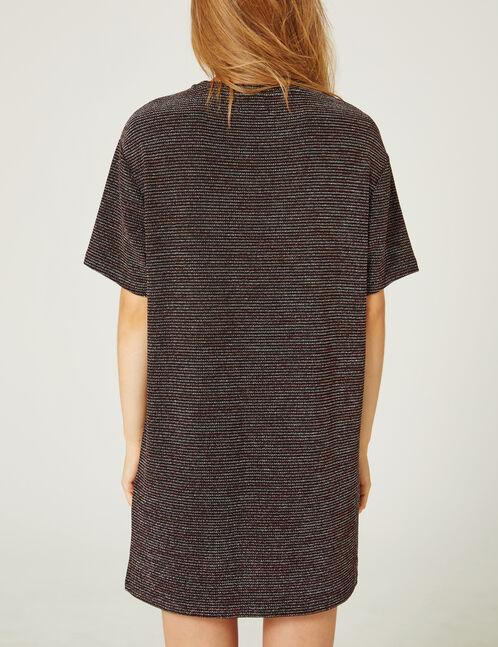 robe rayée avec lurex noire
