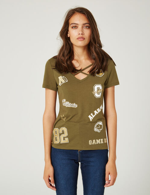 Khaki mixed print T-shirt