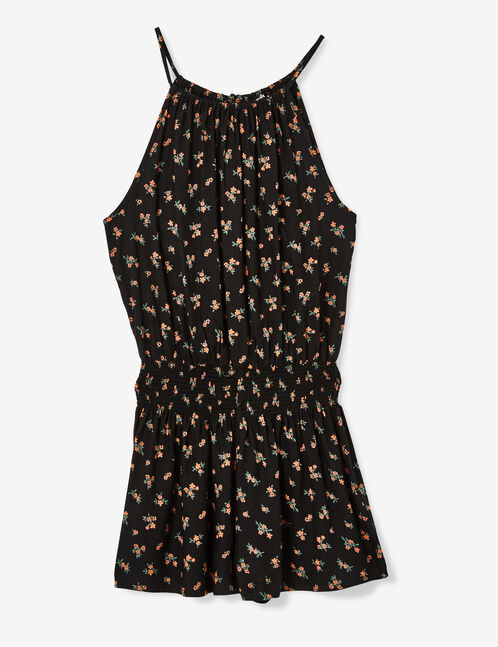Black printed playsuit