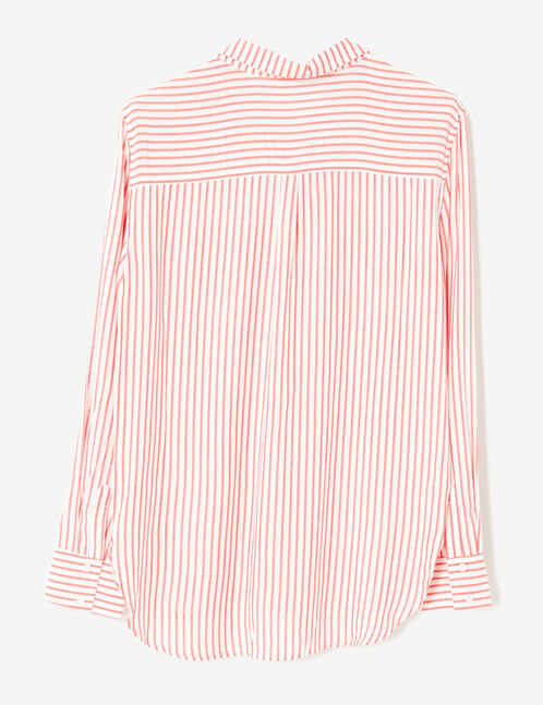 Cream and red striped loose-fit shirt