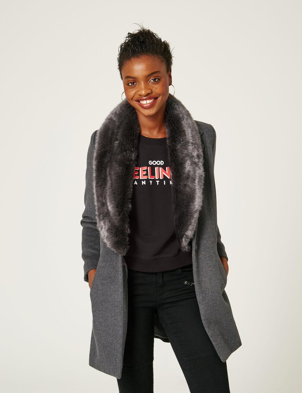 manteau col fausse fourrure gris anthracite chin femme jennyfer. Black Bedroom Furniture Sets. Home Design Ideas