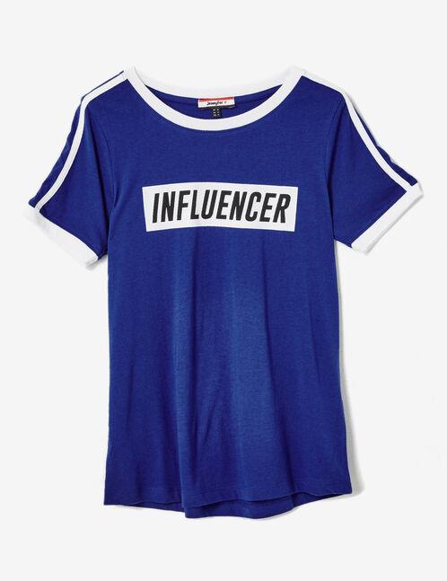 Blue T-shirt with text design detail